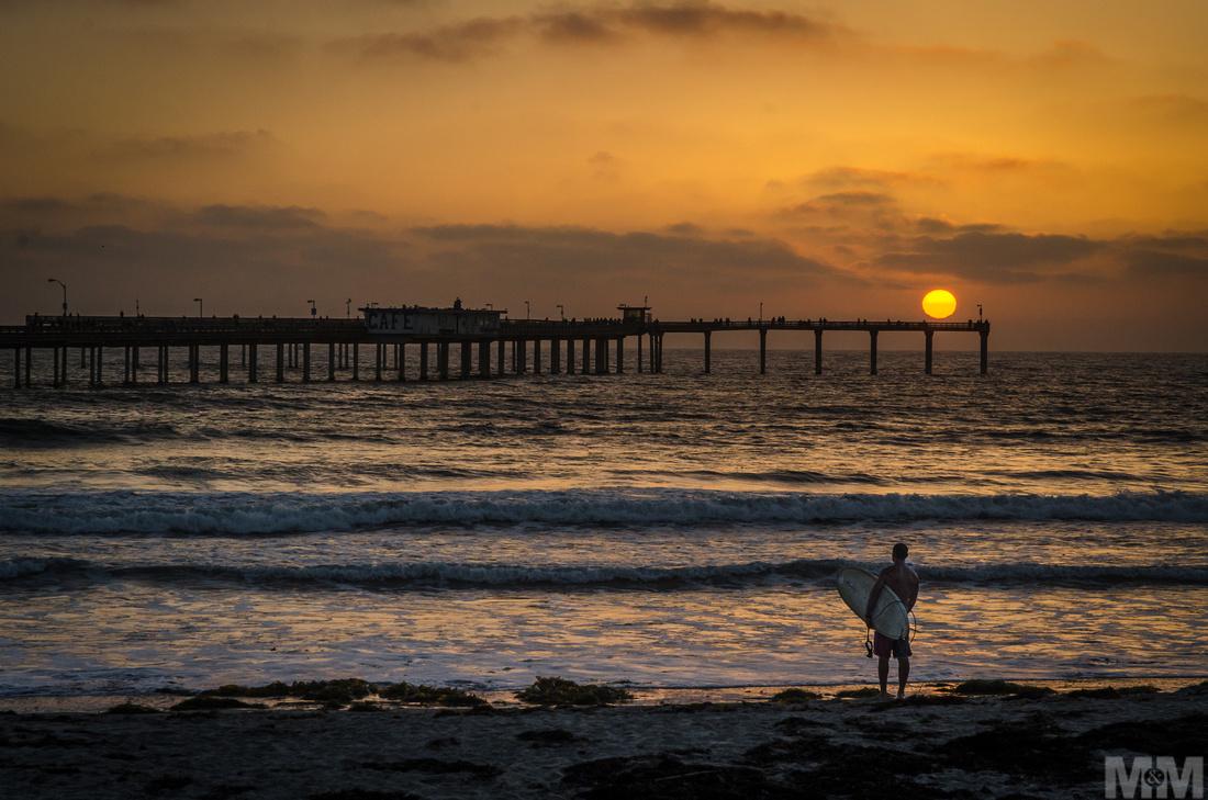 Surfer in San Diego - Last light